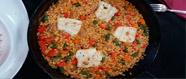 Arròs amb bacallà i verdures